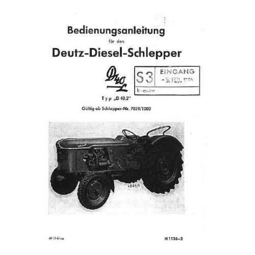 deutz d40l type d40 2 operators manual. Black Bedroom Furniture Sets. Home Design Ideas