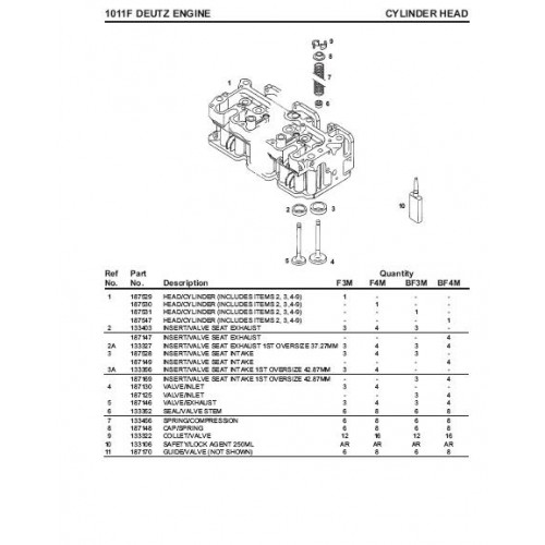 Deutz Diesel Engine F3M1011F BF3M1011F F4M1011F BF4M1011F Parts Manual