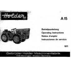 Holder A 15 Cultitrac Operators Manual